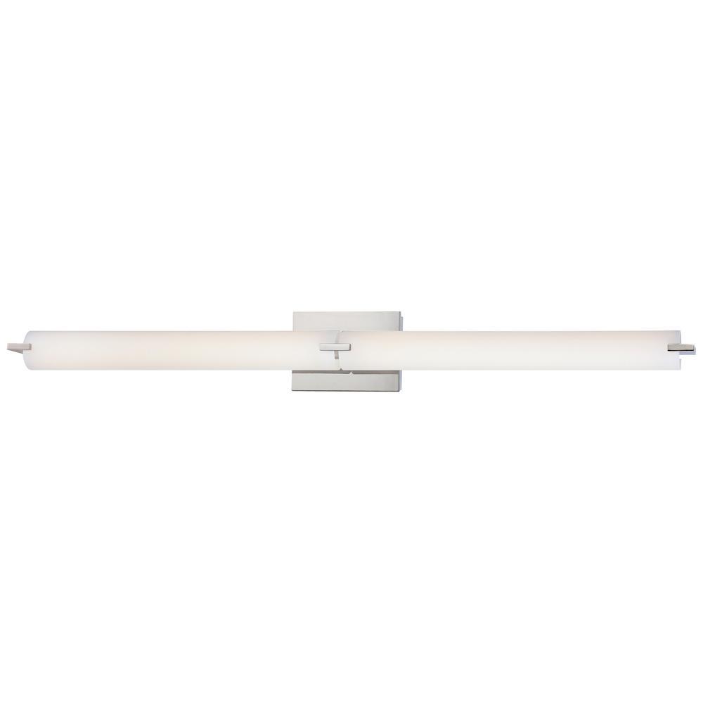 Tube 100-Watt Equivalence Chrome Integrated LED Bath Light