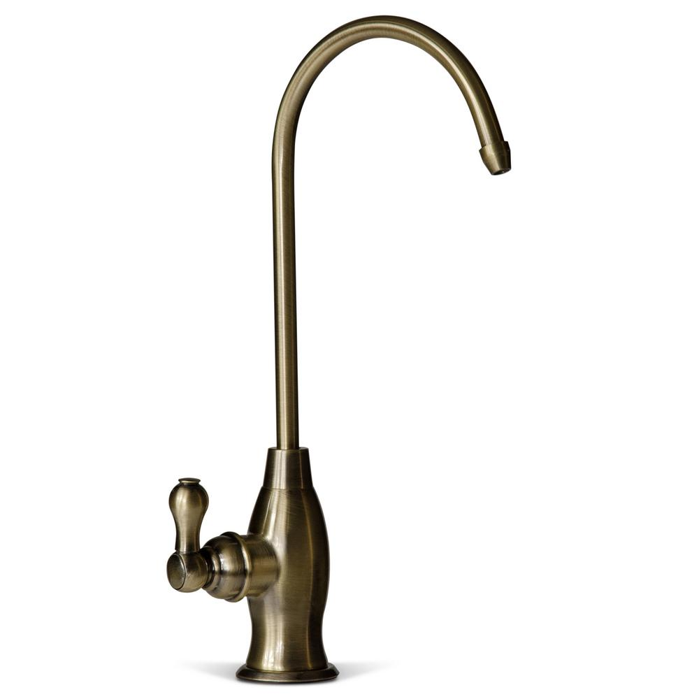 Drinking Water Coke Shaped High-Spout Faucet in Antique Brass
