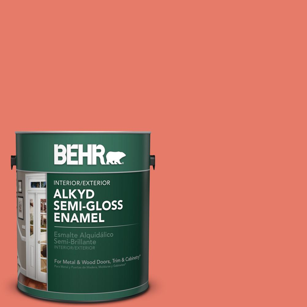 1 gal. #P180-5 Watermelon Slice Semi-Gloss Enamel Alkyd Interior/Exterior Paint