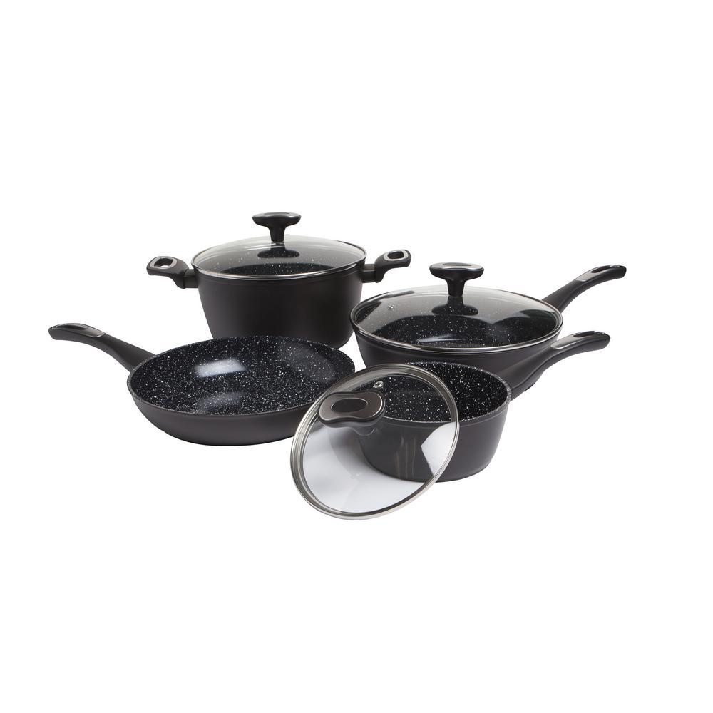 Stratum 7-Piece Black Non-Stick Ceramic Cookware Set