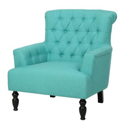 Byrnes Tufted Teal Fabric Club Chair