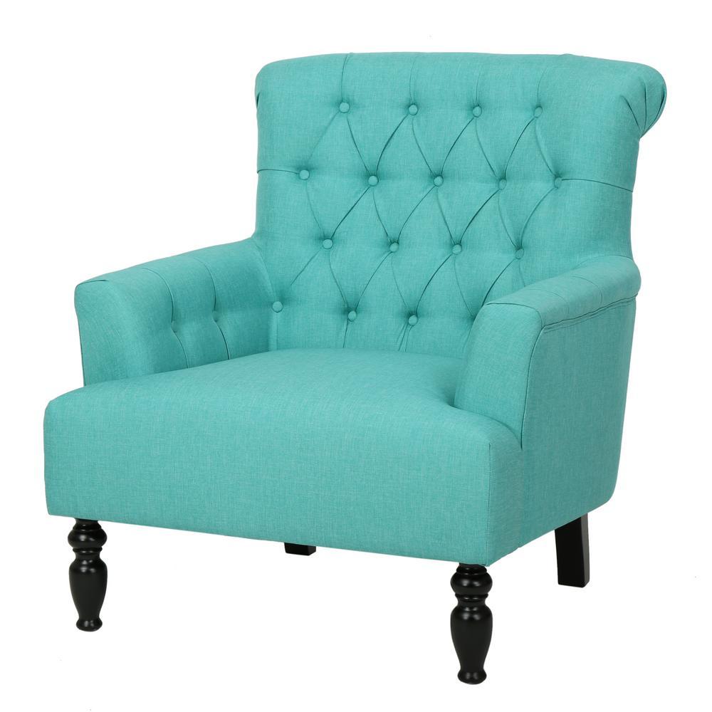 Byrnes Tufted Teal Fabric Club Chair