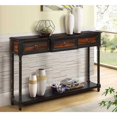 Espresso Luxurious Console Table with 3-Drawer