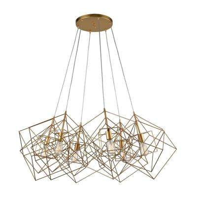 Box Cluster 6 Light Gold Leaf Pendant