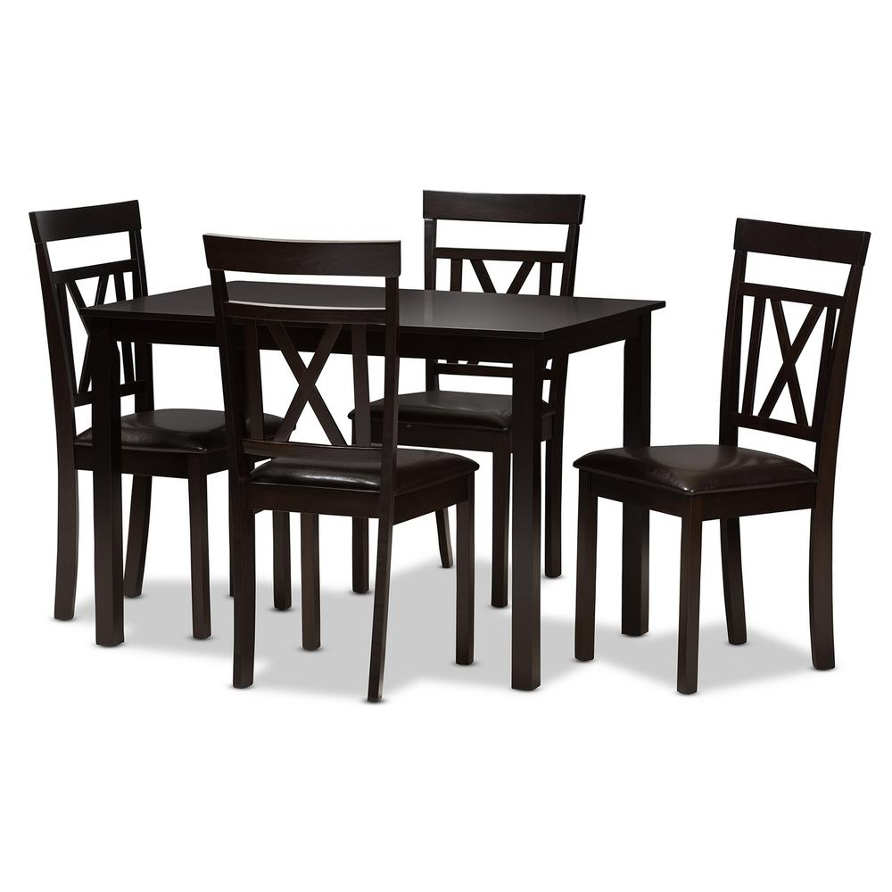 Rosie 5-Piece Dark Brown Dining Set