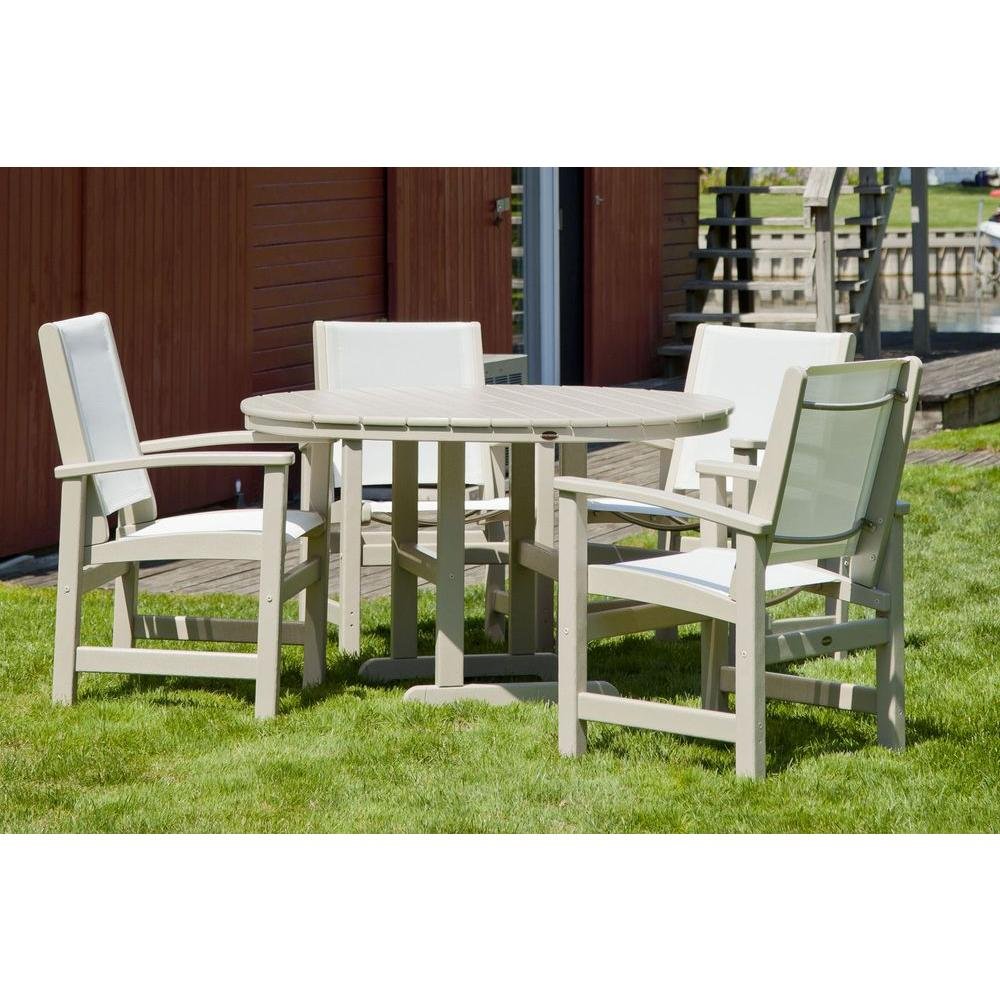 POLYWOOD Coastal Sand 5 Piece Outdoor Patio Dining Set With White Slings