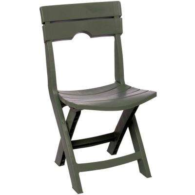 Quik-Fold Sage Resin Plastic Outdoor Lawn Chair