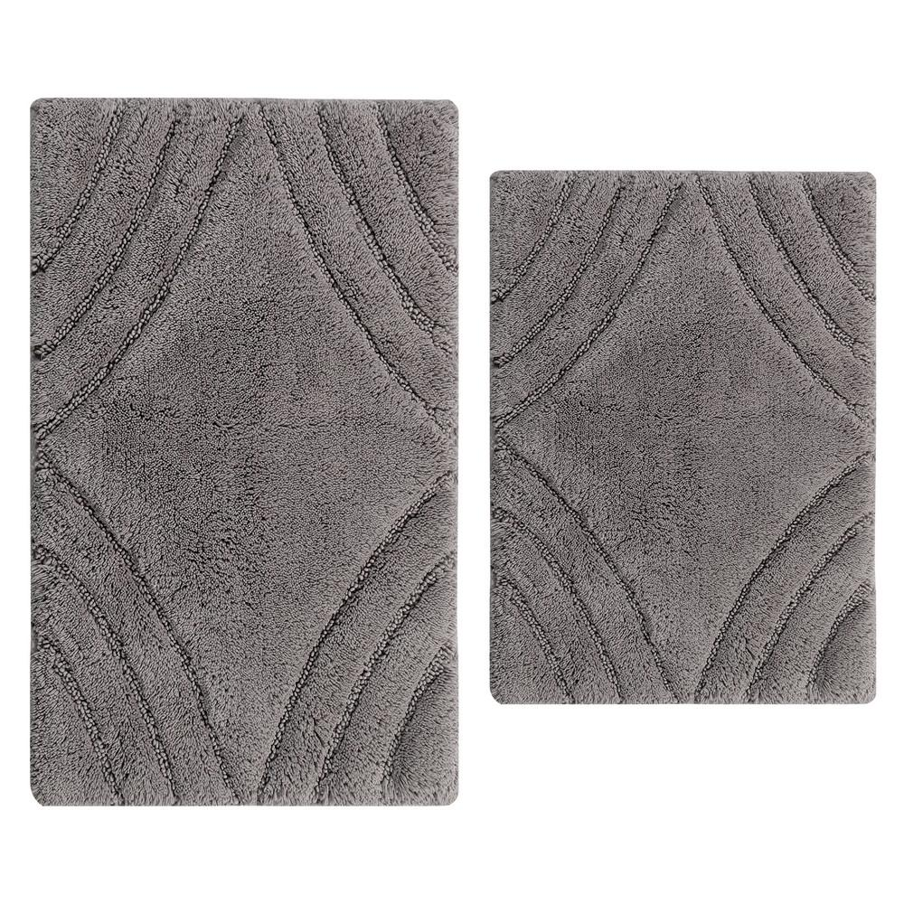 17 In. X 24 In. And Silver 21 In. X 34 In. Diamond Bath Rug Set (2 Piece)