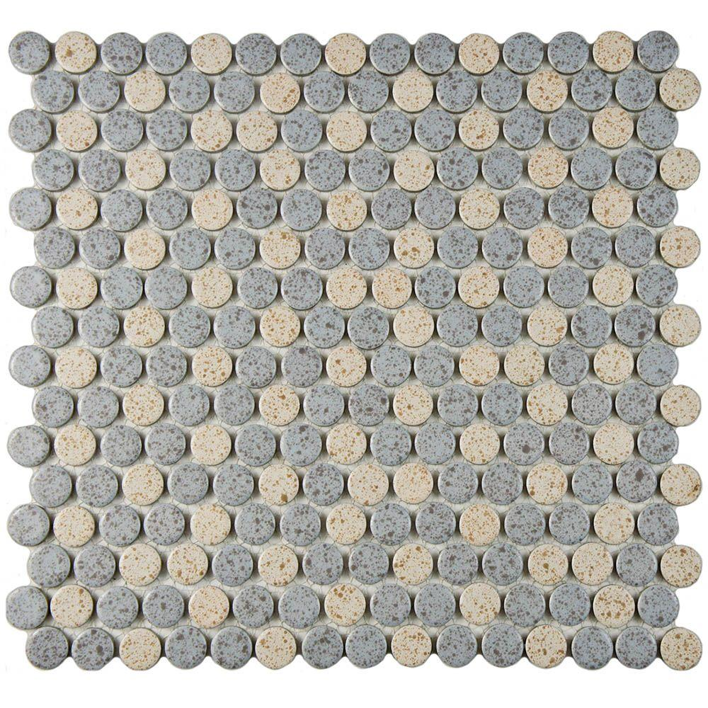 Merola Tile Hudson Penny Round Matte Cookies And Cream 12