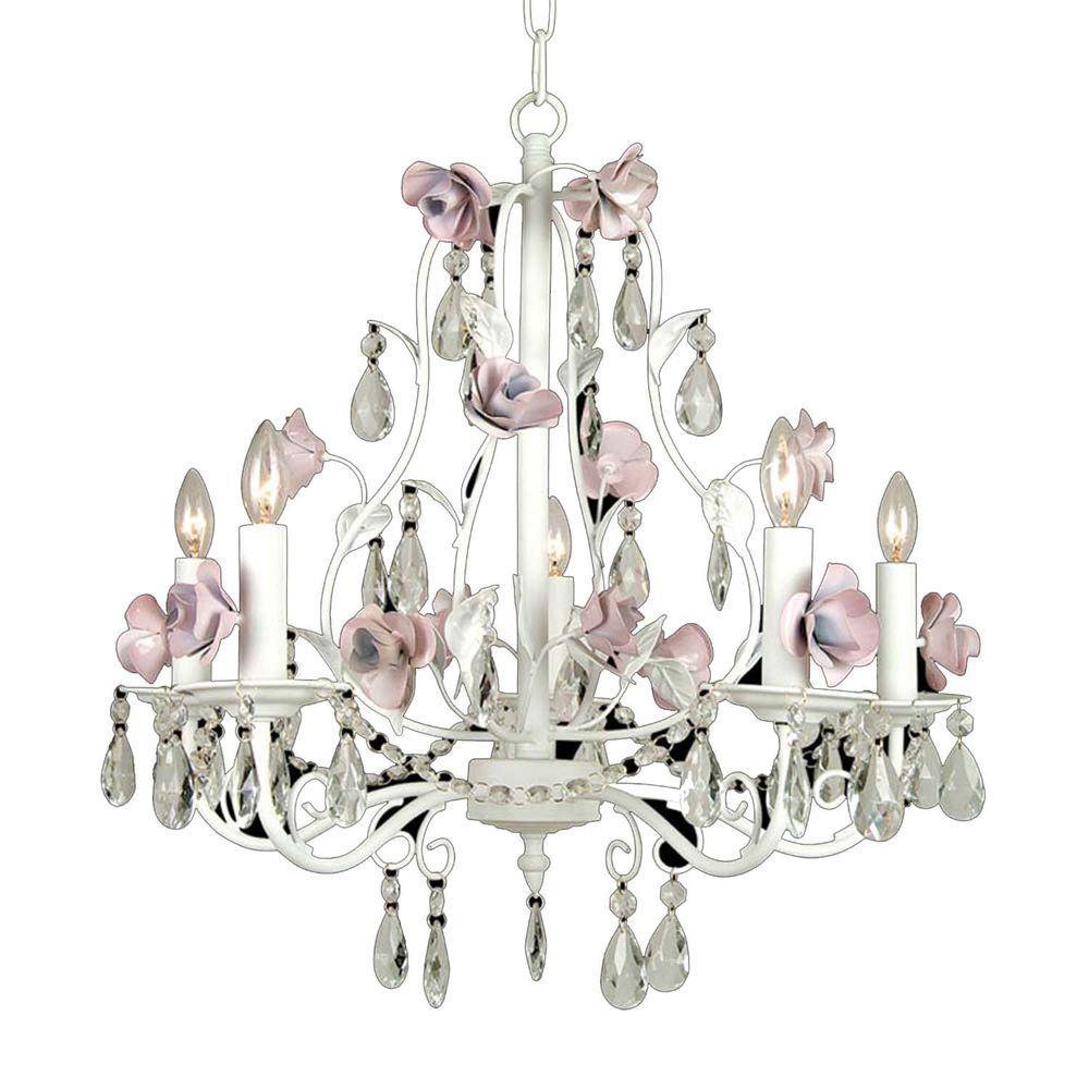 Filament Design Xavier 5-Light White Incandescent Ceiling Chandelier