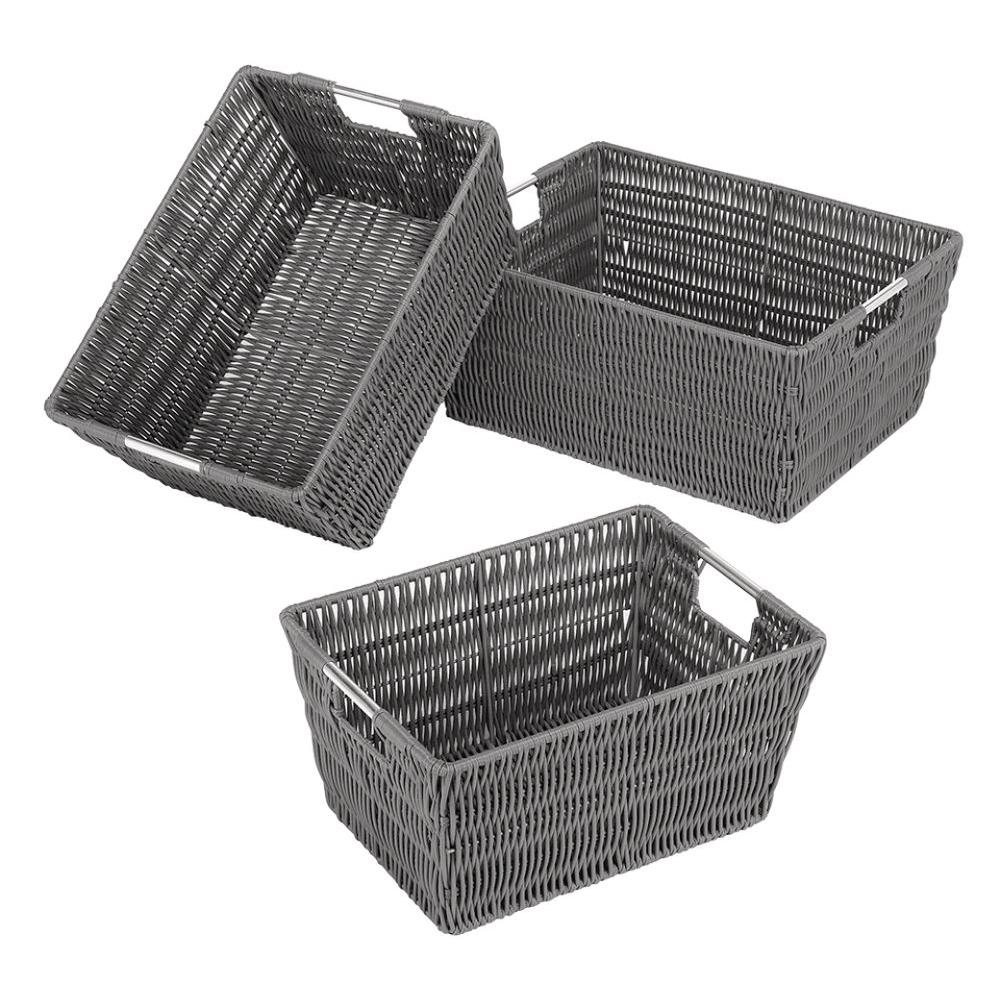 Superbe Whitmor Rattique Grey Storage Baskets (3 Piece)