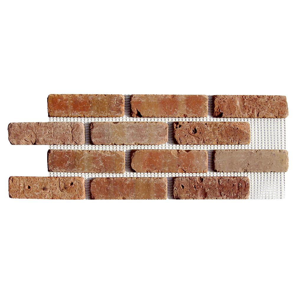 Old Mill Brick Brickwebb Dixie Clay Thin Brick Sheets - Flats (Box of 5 Sheets) - 28 in. x 10.5 in. (8.7 sq. ft.)