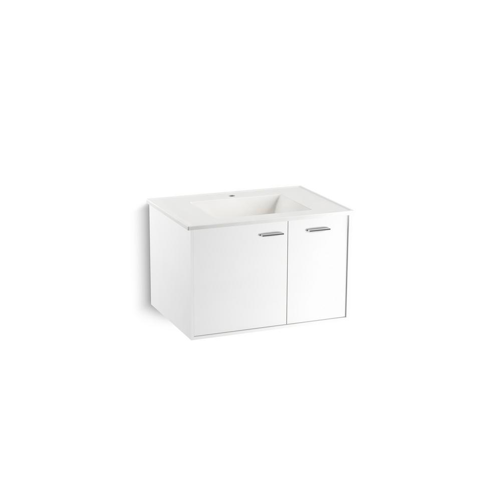 KOHLER Jute 30 in. Vanity in Linen White with Vitreous China Vanity Top in White
