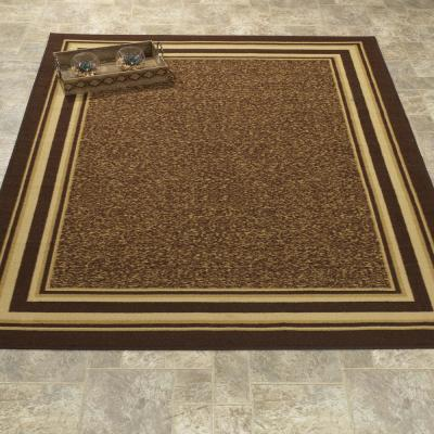 Ottohome Collection Contemporary Bordered Design Brown 3 ft. x 5 ft. Area Rug