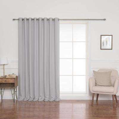 52 in. W x 96 in. L Flame Retardant Blackout Curtain Panel Set in Light Grey