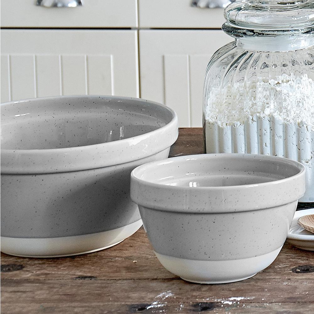 Fattoria 6.75 in. 41 fl. oz. Grey Ceramic Stoneware Serving Bowl
