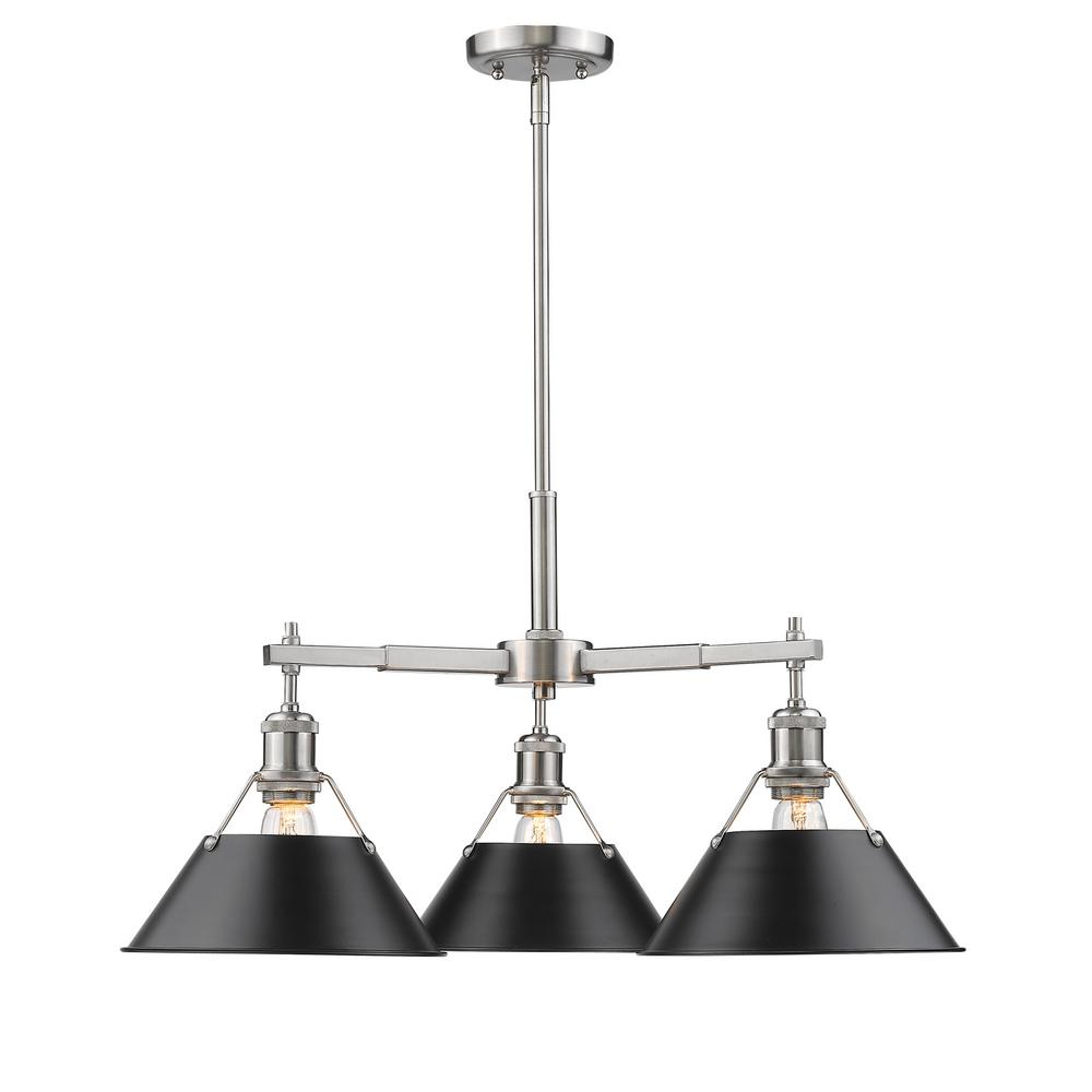 Orwell PW 3-Light Pewter Chandelier with Black Shade