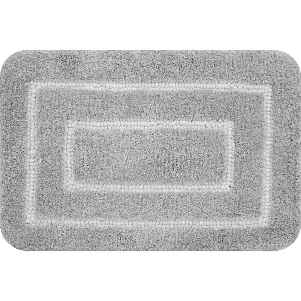 Borders Foam Gray 18 in. x 27 in. Polyester Bath Mat