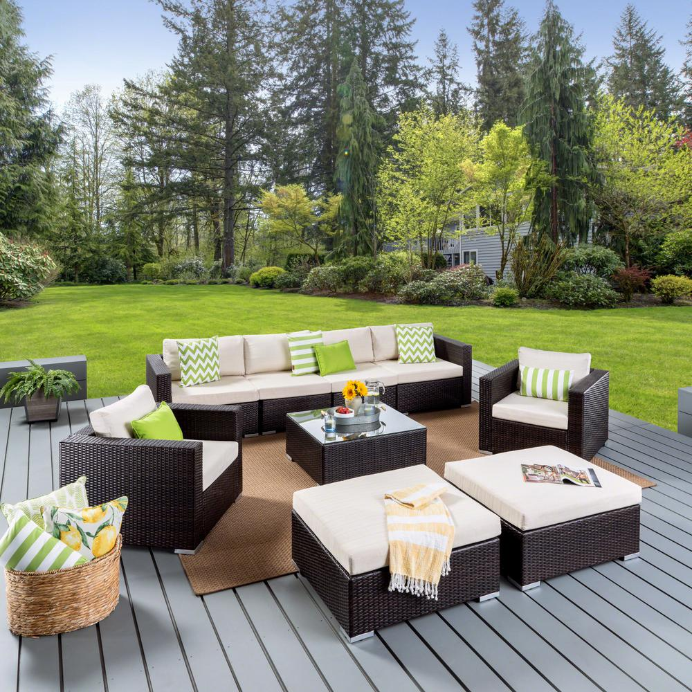 Noble House Dominique Multi Brown 9-Piece Wicker Outdoor Sectional Set with Beige Cushions