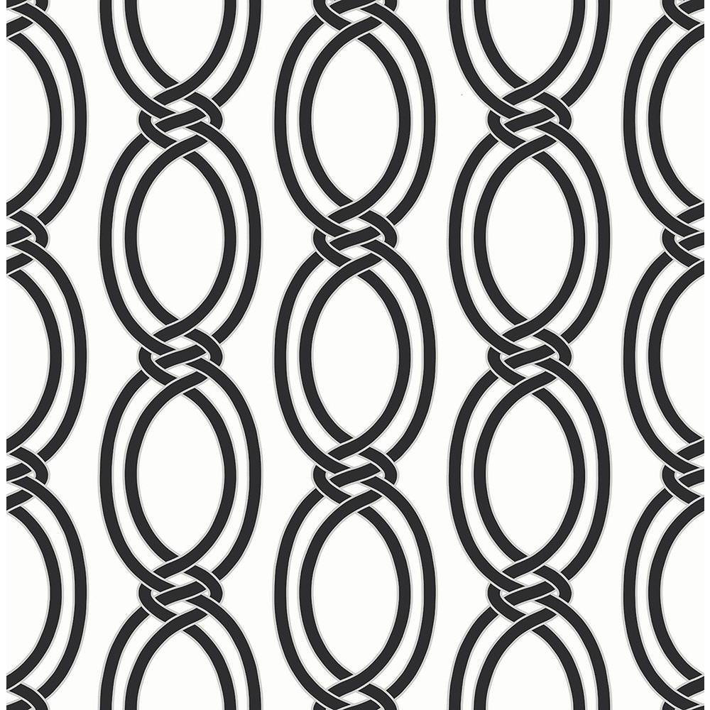 Infinity Black Geometric Stripe Wallpaper