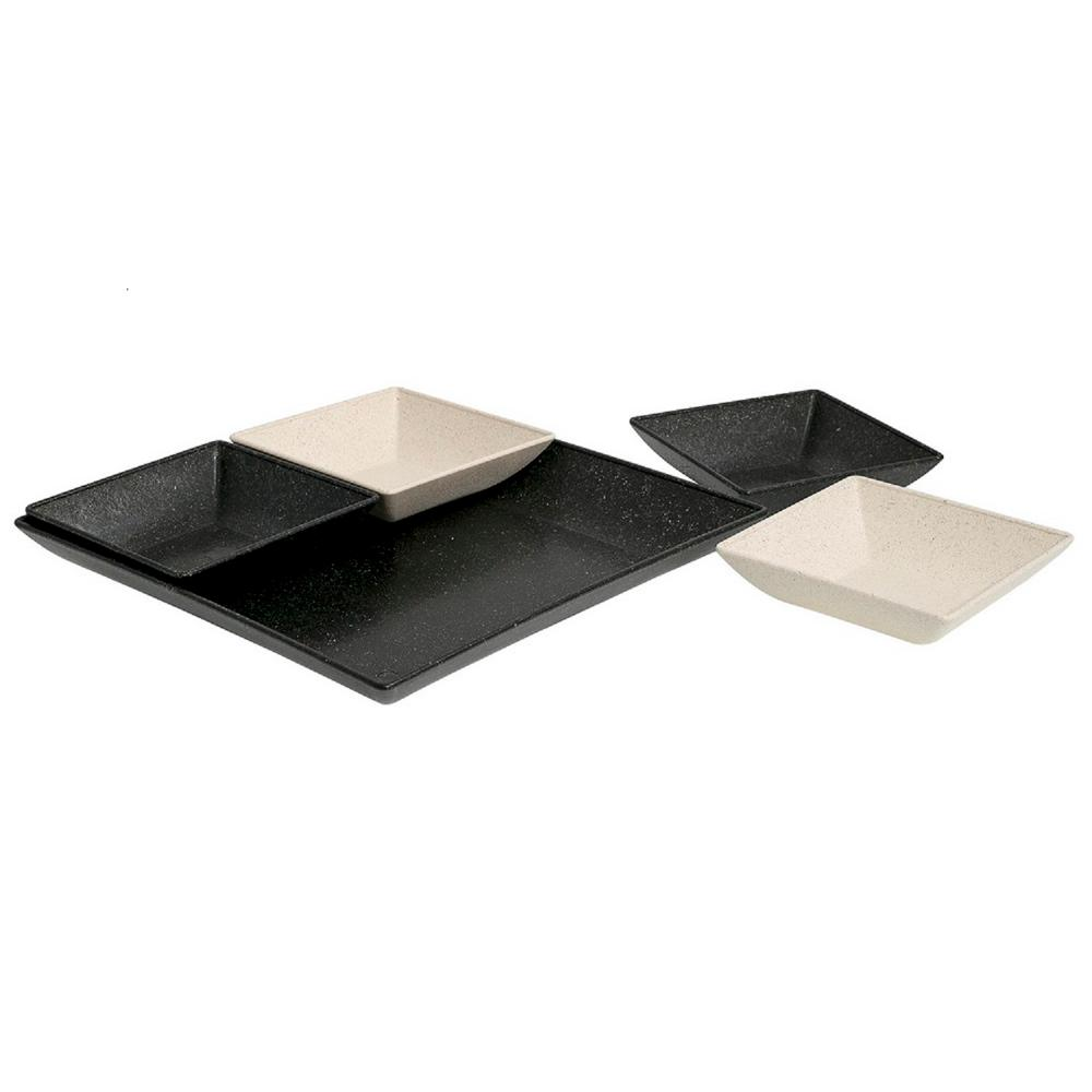 EVO Sustainable Goods Black Eco-Friendly Wood-Plastic Composite Serving &