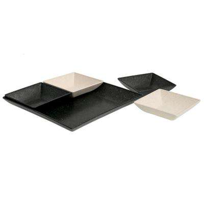 EVO Sustainable Goods Black Eco-Friendly Wood-Plastic Composite Serving & Snack Set (Set of 5)