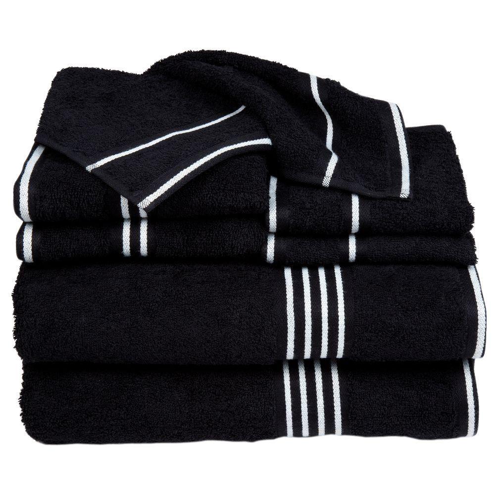 Lavish Home Rio Egyptian Cotton Towel Set in Black (8-Piece) 67-0022-BL