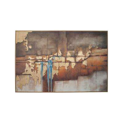 """48 in. x 74 in. """"Abstract Waterfall"""" Hand Painted Framed Canvas Wall Art"""