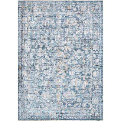 Iona Floral Distressed Blue 5 ft. 3 in. x 7 ft. 7 in. Area Rug