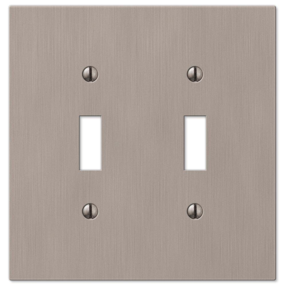 Hampton Bay Barnard 2 Toggle Wall Plate Brushed Nickel Cast