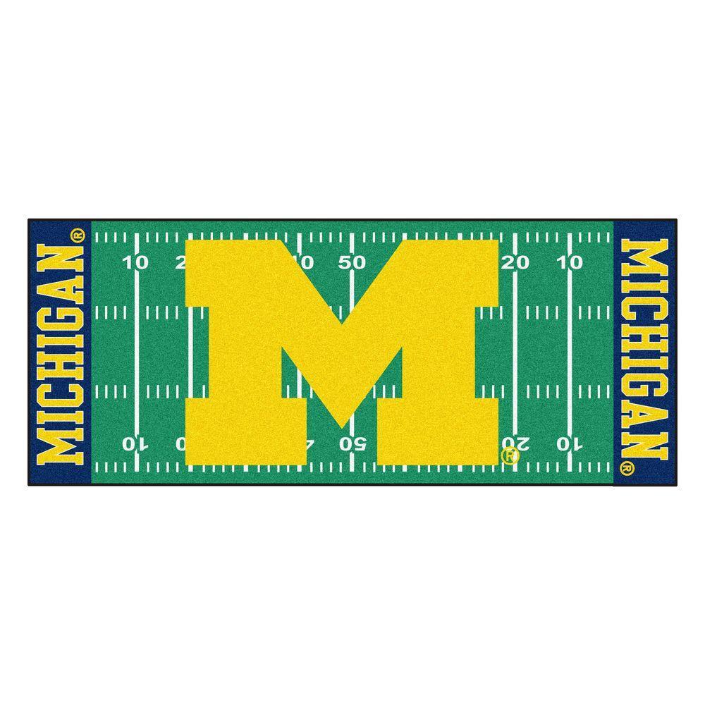 University of Michigan 3 ft. x 6 ft. Football Field Runner Rug
