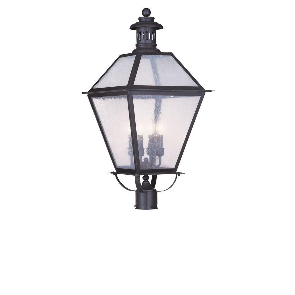 Livex Lighting 4-Light Outdoor Bronze Post Head with Seeded Glass