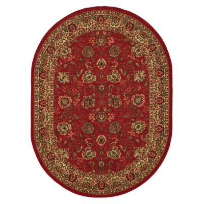 Ottohome Collection Traditional Floral Design Dark Red 5 ft. x 7 ft. Oval Area Rug