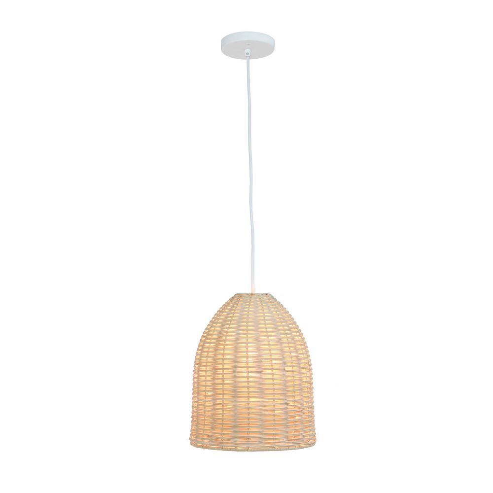 Elegant Designs 12 In 1 Light Natural Elongated Coastal Dome Rattan Downlight Pendant Pt1007 Nat The Home Depot