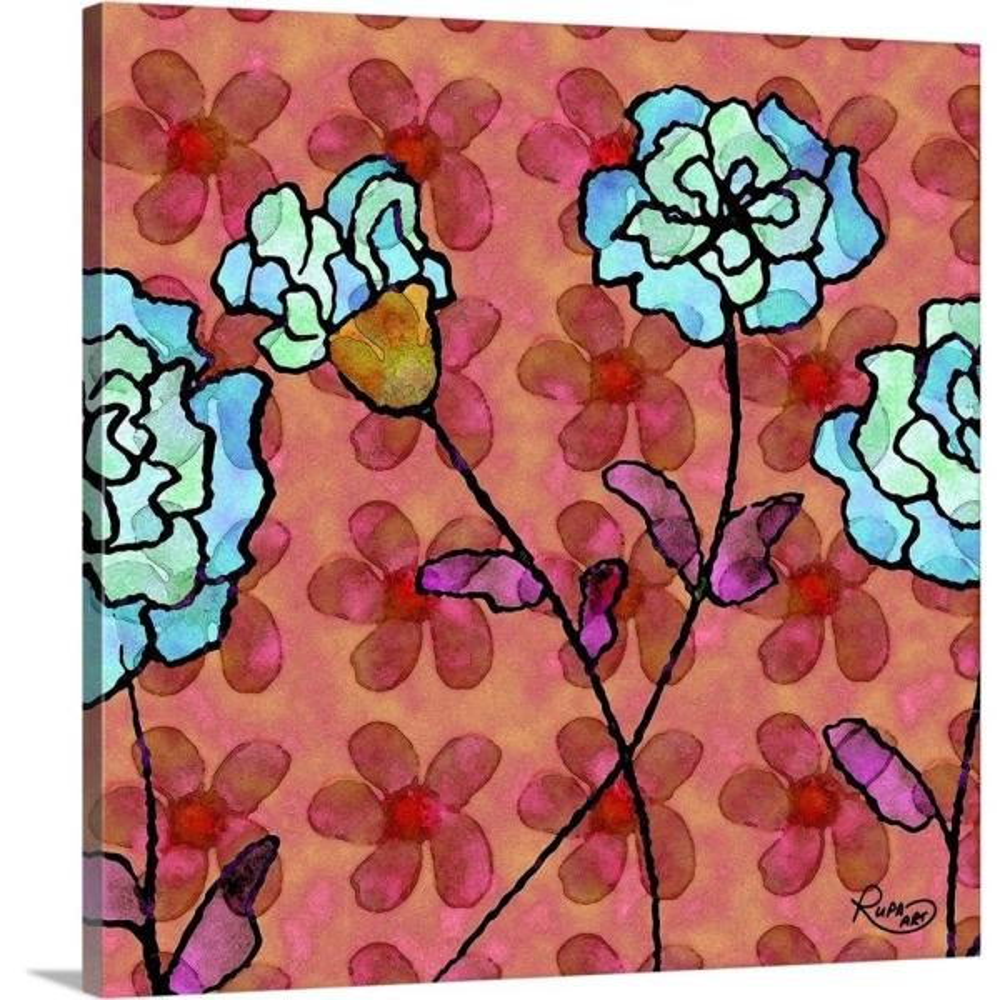 GreatBigCanvas ''Dancing Blues On Pink'' by RUPA Art Canvas Wall Art