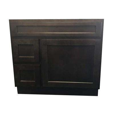 36 in. W x 21 in. D x 32.5 in. H 2-Left Drawers Bath Vanity Cabinet Only in Brown