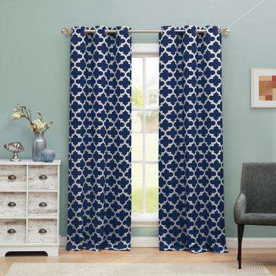 Kyra Blackout Navy 365 Grommet Panel Pair - 38 in. W x 84 in. L (2-Piece)