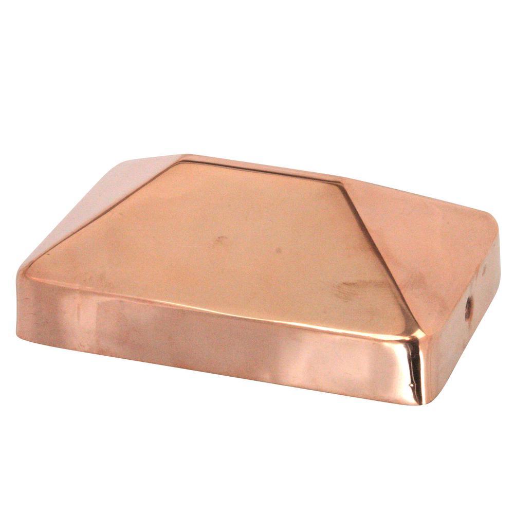 4 in. x 6 in. Copper Pyramid Slip Over Fence Post Cap