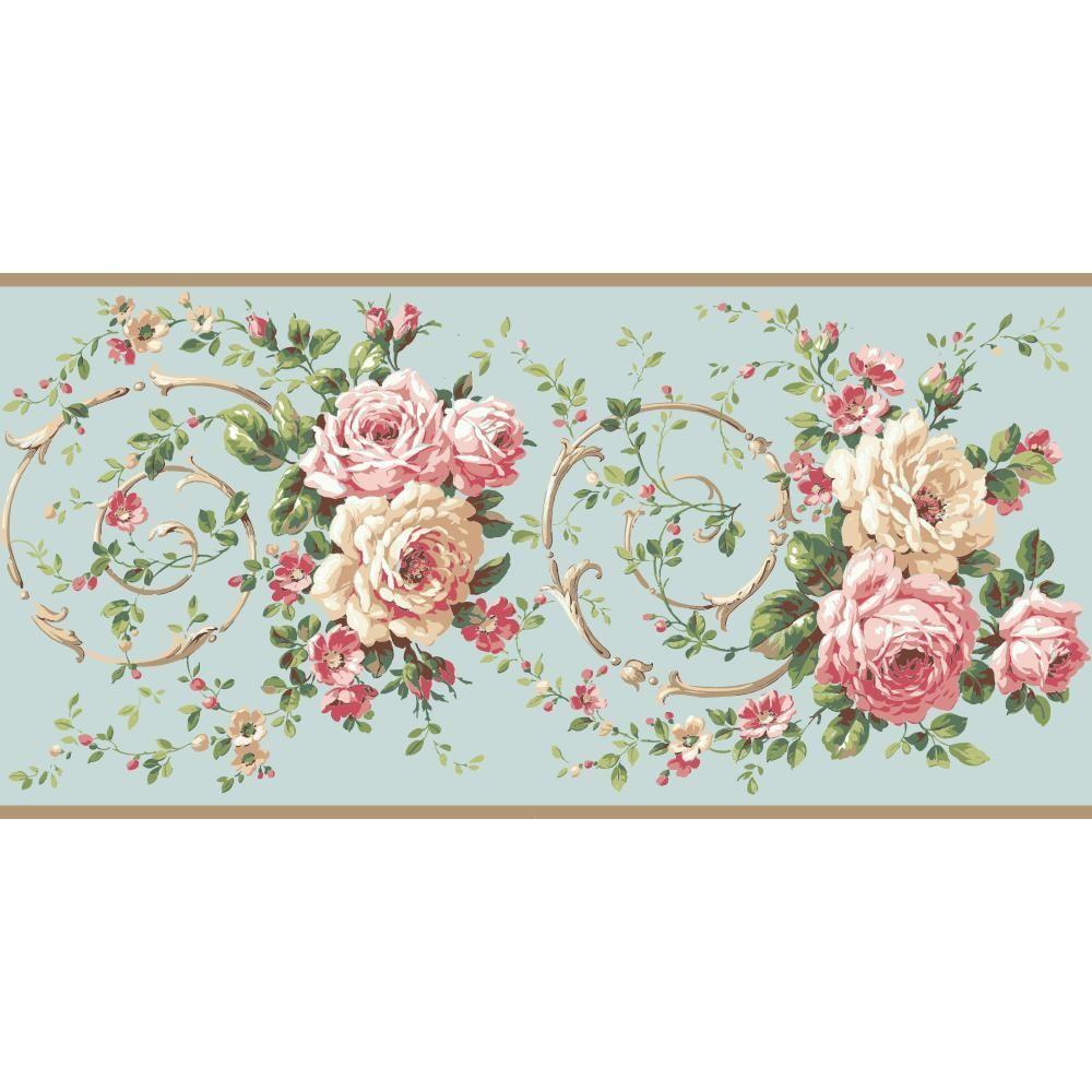 Casabella II Rose Scroll Wallpaper Border