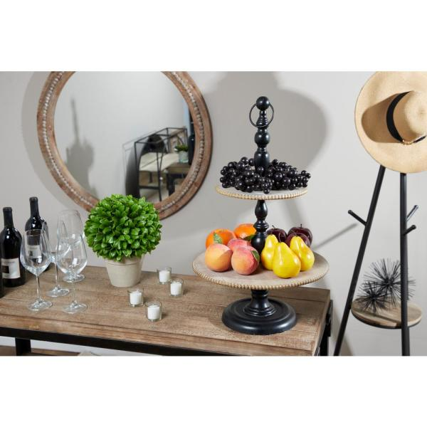 Litton Lane Black and Brown 3-Tier Decorative Tray Stand 43624