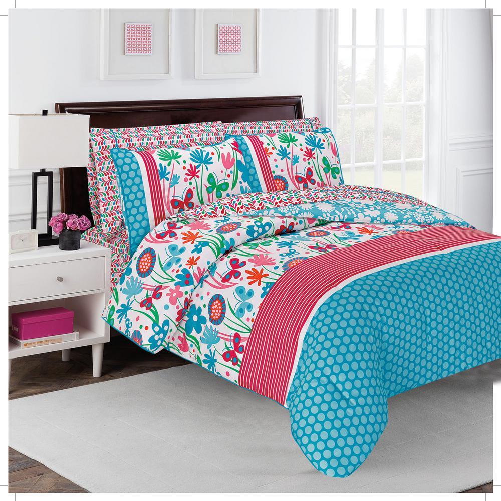 Flirty 7-Piece Multicolored Floral King Comforter Set