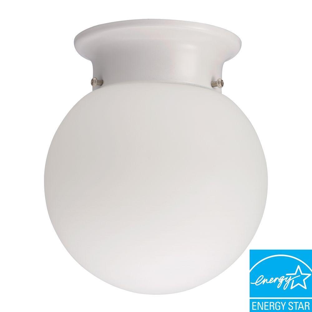 1-Light White Fluorescent Ceiling Flush Mount