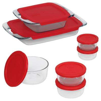 Bake N Store 14-Piece Glass Bakeware and Storage Set with Red Lids