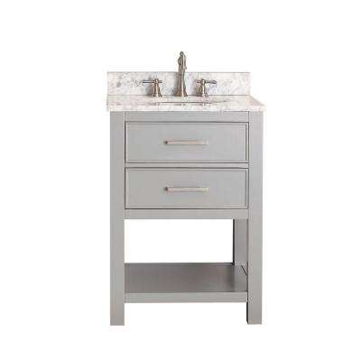 Brooks 25 in. W x 22 in. D x 35 in. H Vanity in Chilled Gray with Marble Vanity Top in Carrara White and White Basin