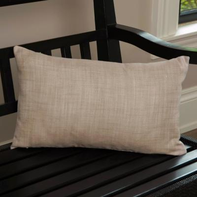 Natural Woven Natural Plaid 12 in x 20 Throw Pillow Cover