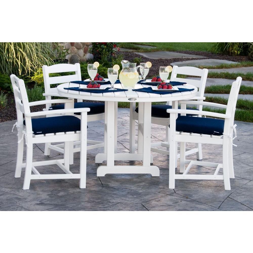 La Casa Cafa White 5-Piece Plastic Outdoor Patio Dining Set with Sunbrella Navy Cushion