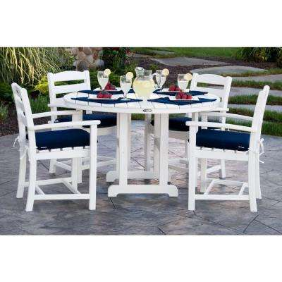 La Casa Cafa White 5-Piece Plastic Outdoor Patio Dining Set with Sunbrella Navy Cushion