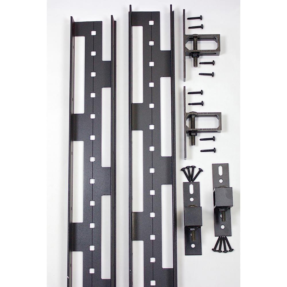 2 in. x 3 in. x 8 ft. Black Aluminum Fence Rail Kit
