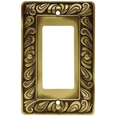 Paisley Decorative Single Rocker Switch Plate, Tumbled Antique Brass