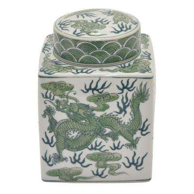 8.25 in. Green and White - Green Ceramic Jar